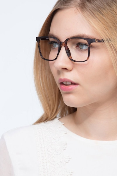 Magnus Matte Tortoise Plastic Eyeglass Frames for Women from EyeBuyDirect, Front View