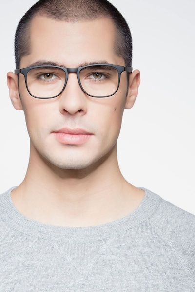 Ghent Matte Black Plastic Eyeglass Frames for Men from EyeBuyDirect, Front View