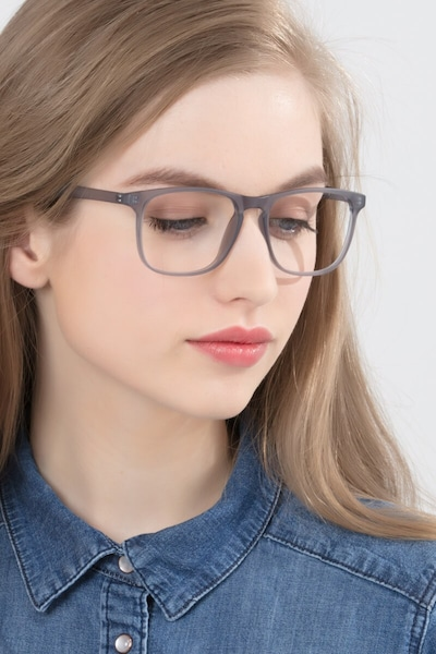 Ghent Matte Gray Plastic Eyeglass Frames for Women from EyeBuyDirect, Front View