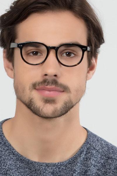 Achiever Brown Floral Plastic Eyeglass Frames for Men from EyeBuyDirect, Front View