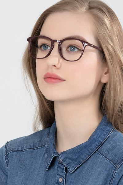 Record Dark Red Plastic Eyeglass Frames for Women from EyeBuyDirect, Front View