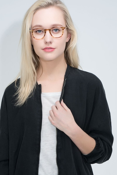 Symmetry Striped Caramel Acetate Eyeglass Frames for Women from EyeBuyDirect, Front View