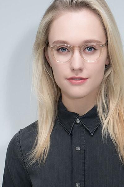 Aurora Champagne Acetate Eyeglass Frames for Women from EyeBuyDirect