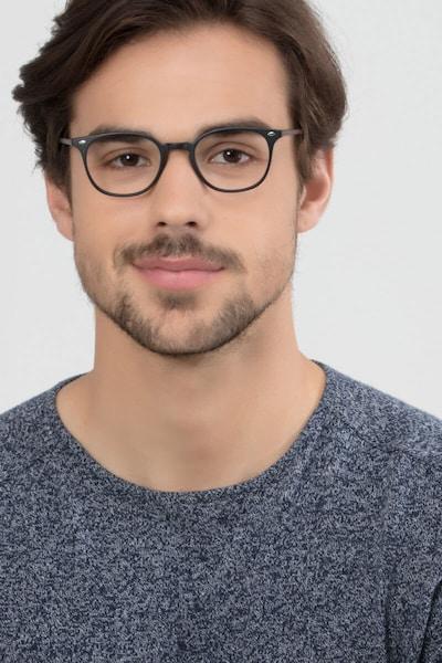Hubris Matte Black Plastic Eyeglass Frames for Men from EyeBuyDirect, Front View