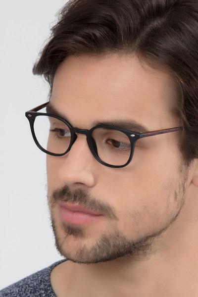 Hubris Matte Black Plastic Eyeglass Frames for Men from EyeBuyDirect