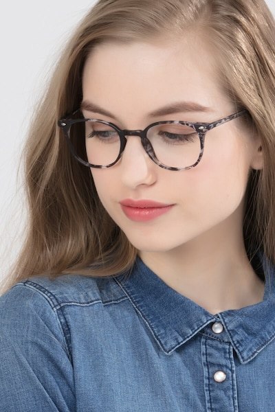 Hubris Black Floral Plastic Eyeglass Frames for Women from EyeBuyDirect, Front View