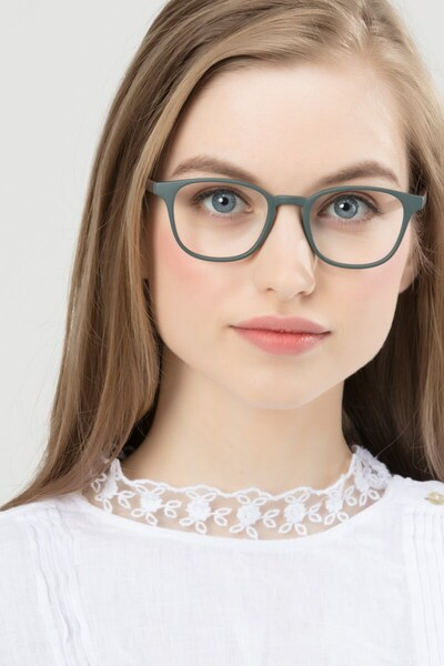 Allegory Dark Green Plastic Eyeglass Frames for Women from EyeBuyDirect, Front View