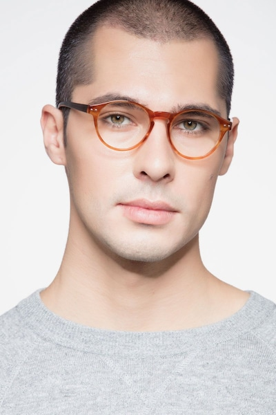 Method Brown Acetate Eyeglass Frames for Men from EyeBuyDirect, Front View