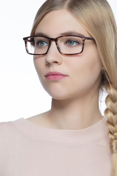 Crane Brown Striped Acetate Eyeglass Frames for Women from EyeBuyDirect, Front View