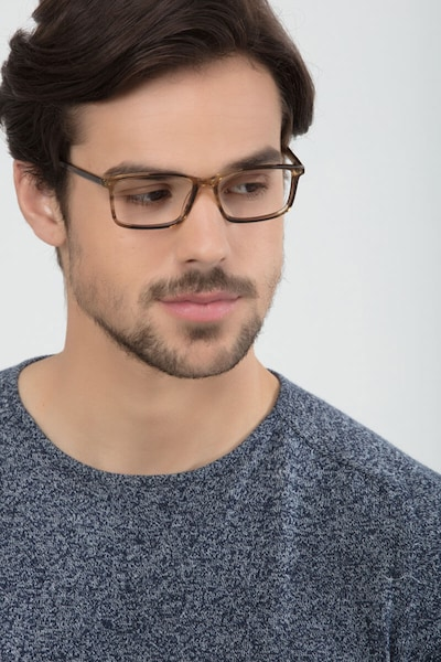 Crane Brown Acetate Eyeglass Frames for Men from EyeBuyDirect, Front View