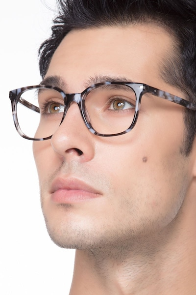 Absolutely Gray Floral Acétate Montures de Lunettes pour Hommes d'EyeBuyDirect