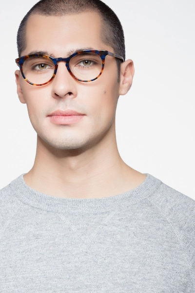 Griffin Amber & Navy Acetate Eyeglass Frames for Men from EyeBuyDirect, Front View