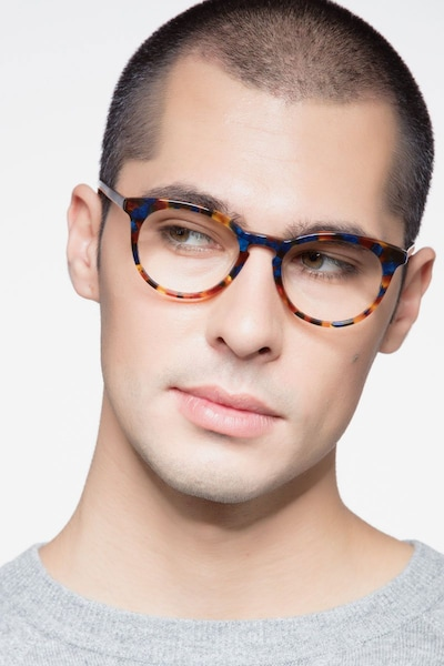 Griffin Amber & Navy Acetate Eyeglass Frames for Men from EyeBuyDirect