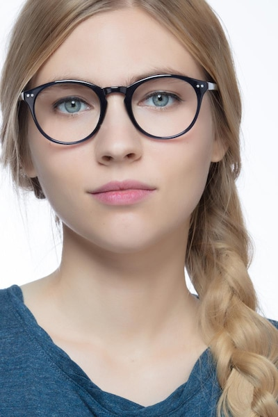 Revolution Navy Plastic Eyeglass Frames for Women from EyeBuyDirect, Front View