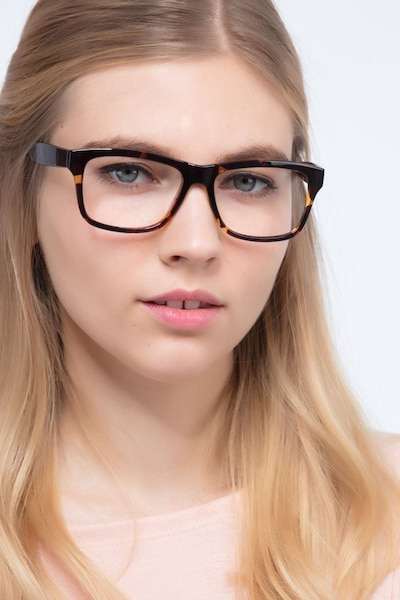 Gamble Tortoise Plastic Eyeglass Frames for Women from EyeBuyDirect, Front View