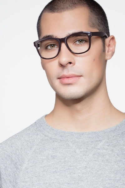 Myrtle Purple Plastic Eyeglass Frames for Men from EyeBuyDirect, Front View