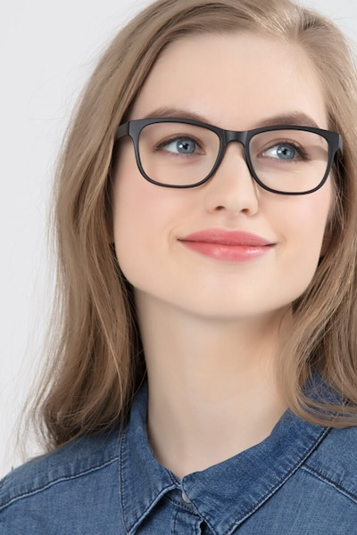 Milo Matte Black Plastic Eyeglass Frames for Women from EyeBuyDirect