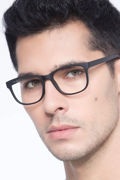Milo Matte Black Plastic Eyeglass Frames for Men from EyeBuyDirect