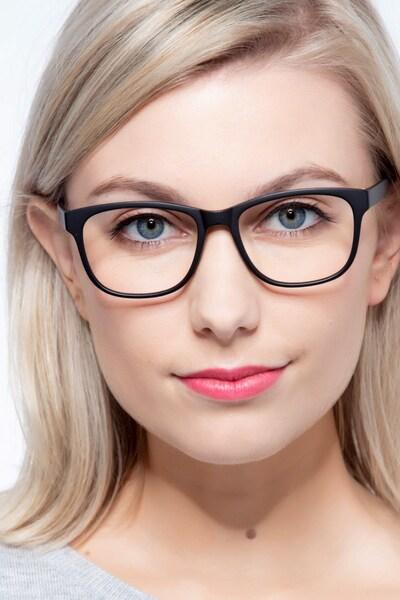 Milo Matte Black Plastic Eyeglass Frames for Women from EyeBuyDirect, Front View