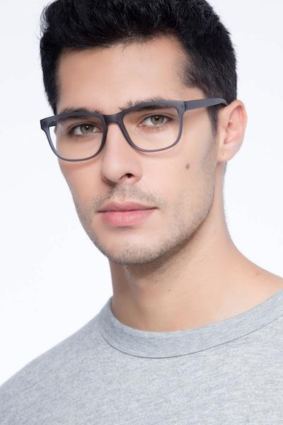 Milo Matte Gray Plastic Eyeglass Frames for Men from EyeBuyDirect, Front View