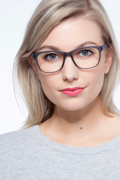 Milo Matte Gray Plastic Eyeglass Frames for Women from EyeBuyDirect, Front View