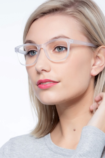 Milo Frosted Clear Plastic Eyeglass Frames for Women from EyeBuyDirect, Front View