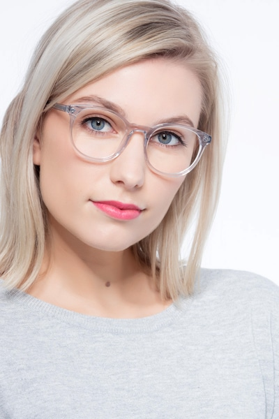 Primrose Gray Clear Acetate Eyeglass Frames for Women from EyeBuyDirect, Front View