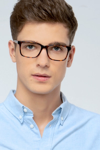 Prologue Tortoise Acetate Eyeglass Frames for Men from EyeBuyDirect, Front View