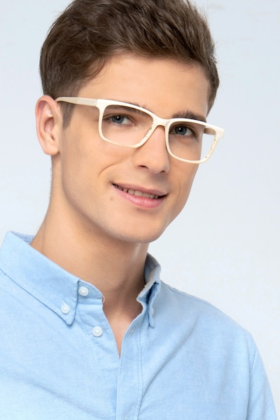 Prologue Cream Acetate Eyeglass Frames for Men from EyeBuyDirect, Front View