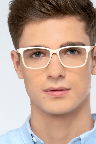 Prologue Cream Acetate Eyeglass Frames for Men from EyeBuyDirect
