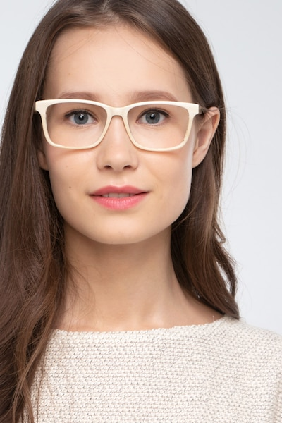 Prologue Cream Acetate Eyeglass Frames for Women from EyeBuyDirect, Front View
