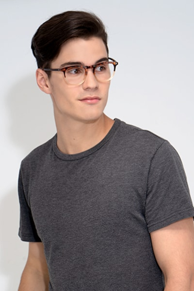 Illusion Tortoise Clear Acetate Eyeglass Frames for Men from EyeBuyDirect, Front View