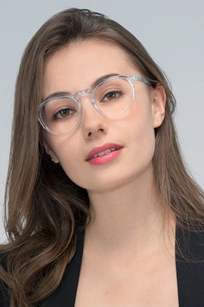 Planete Clear Blue Acetate Eyeglass Frames for Women from EyeBuyDirect