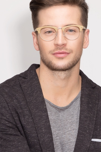 Esteban Yellow Wood-texture Eyeglass Frames for Men from EyeBuyDirect, Front View