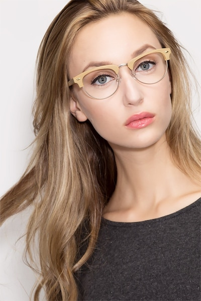 Esteban Yellow Wood-texture Eyeglass Frames for Women from EyeBuyDirect, Front View