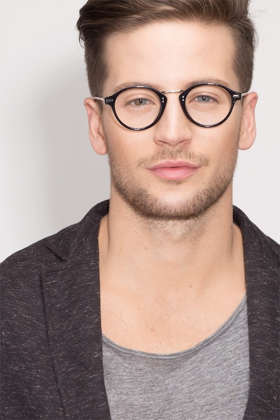 Shibuya Black Acetate Eyeglass Frames for Men from EyeBuyDirect, Front View