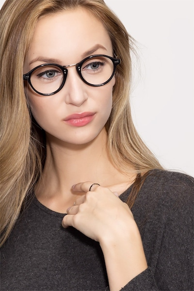 Shibuya Black Acetate Eyeglass Frames for Women from EyeBuyDirect, Front View