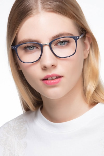 Savannah Matte Navy Metal Eyeglass Frames for Women from EyeBuyDirect, Front View