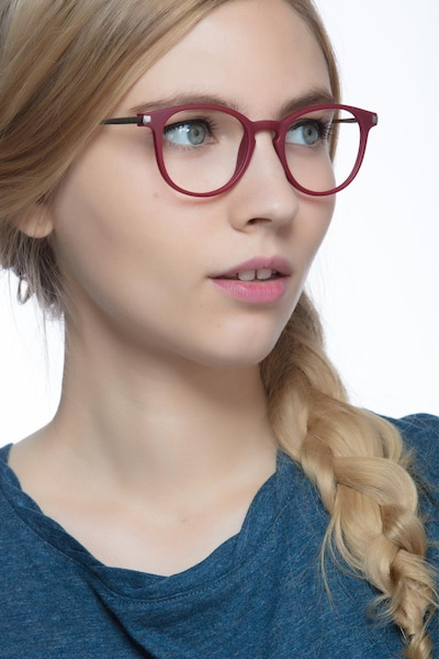 Mirando Raspberry Metal Eyeglass Frames for Women from EyeBuyDirect, Front View