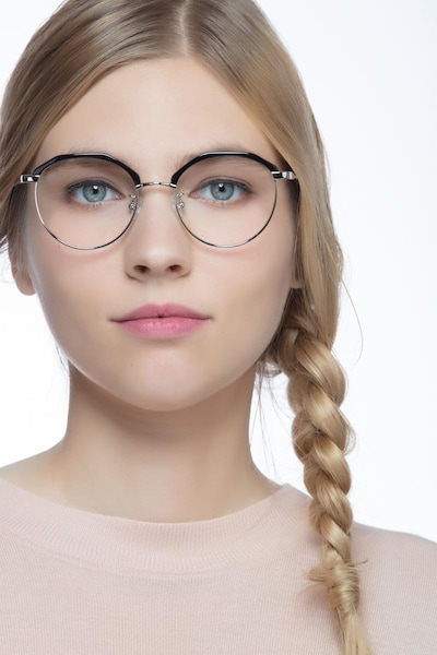 Festival Black Acetate Eyeglass Frames for Women from EyeBuyDirect, Front View