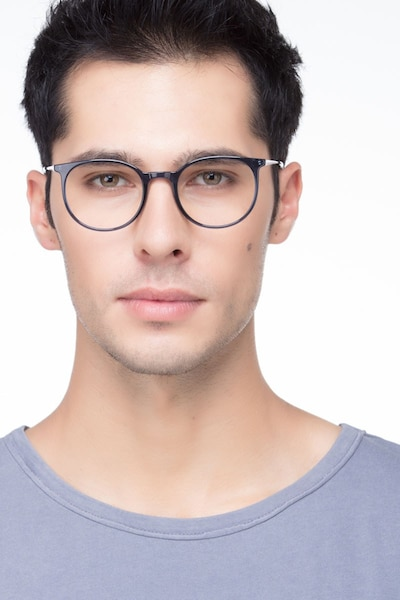 Marilou Clear Cobalt Metal Eyeglass Frames for Men from EyeBuyDirect, Front View