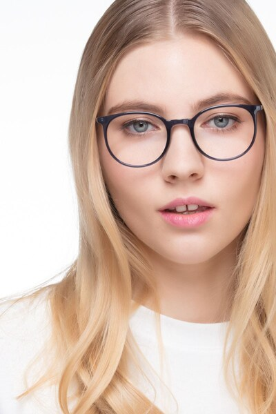 Marilou Clear Cobalt Metal Eyeglass Frames for Women from EyeBuyDirect