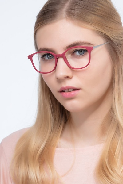 Villa Raspberry Metal Eyeglass Frames for Women from EyeBuyDirect, Front View