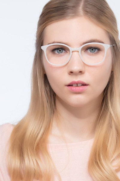 Villa White Metal Eyeglass Frames for Women from EyeBuyDirect, Front View