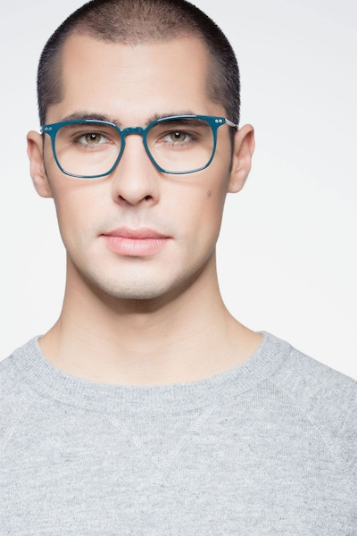 Ghostwriter Teal Metal Eyeglass Frames for Men from EyeBuyDirect, Front View