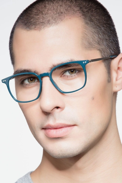 Ghostwriter Teal Metal Eyeglass Frames for Men from EyeBuyDirect