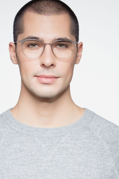 Strike Clear Gray Metal Eyeglass Frames for Men from EyeBuyDirect, Front View