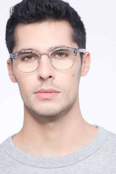 Roots Speckled Gray Metal Eyeglass Frames for Men from EyeBuyDirect, Front View