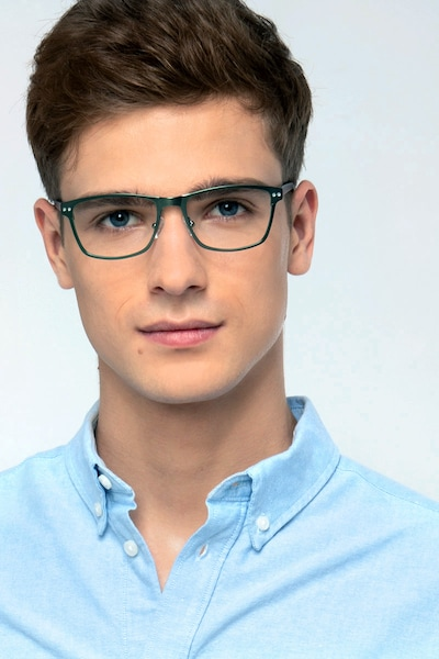 Comity Light Green Acetate Eyeglass Frames for Men from EyeBuyDirect, Front View