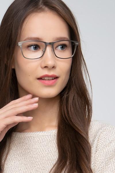 Comity Argent Acétate Montures de Lunettes pour Femmes d'EyeBuyDirect, Vue de Face